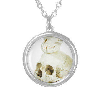Skulls of human and ape on top silver plated necklace