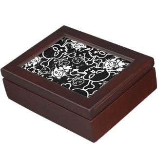 Skulls on black seamless pattern.ai keepsake box