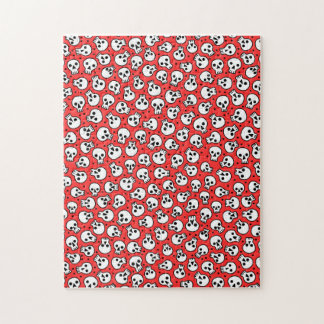 Skulls on Red Background 11x14 Puzzle w/ Gift Box