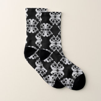 Skulls Pattern - Black/White Socks