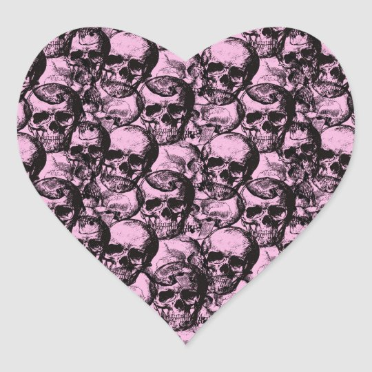 Skulls pattern heart sticker