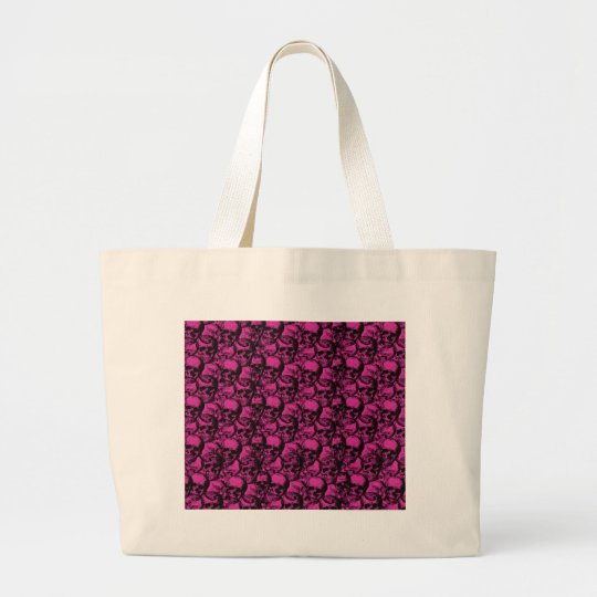 Skulls pattern large tote bag