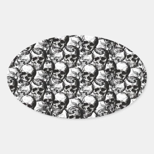 Skulls pattern oval sticker