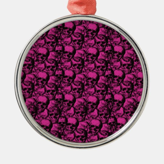 Skulls pattern Silver-Colored round ornament