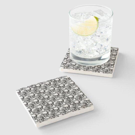 Skulls pattern stone beverage coaster
