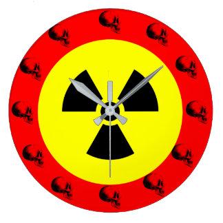Skulls Radiation Sign Wall Clock,Red Clocks