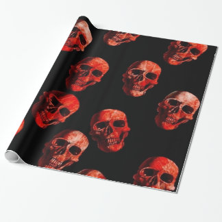 skulls , red black wrapping paper