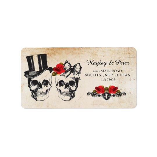 Skulls Rose Rustic Address Labels Stickers Wedding