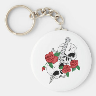 Skulls, Roses and Dagger Basic Round Button Keychain