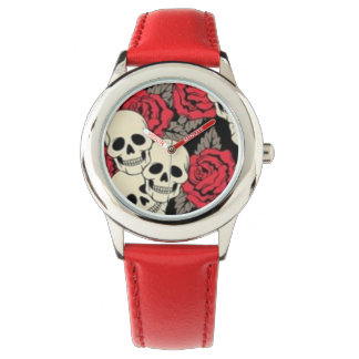 Skulls & Roses Stainless Steel Red Watch
