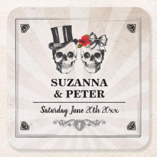 Skulls Rustic Roses Coasters Wedding Skull Party