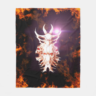 Skulls surrounded by fire and flames fleece blanket