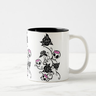 Skulls with Bows and Roses Two-Tone Coffee Mug