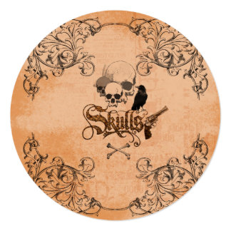 Skulls with crow and decorative floral elements card