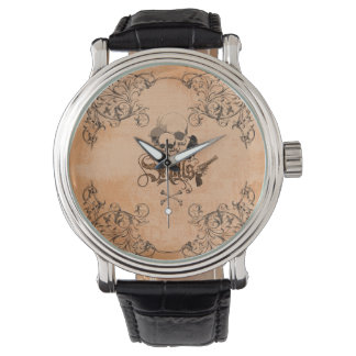 Skulls with crow and decorative floral elements wristwatch