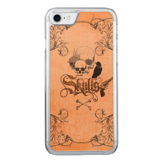 Skulls with crow carved iPhone 7 case