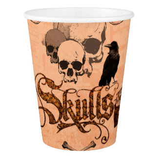 Skulls with crow paper cup
