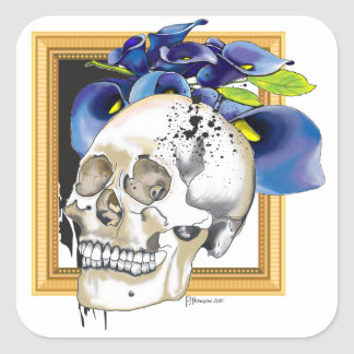 Skully 5 with Calla Lily Square Sticker