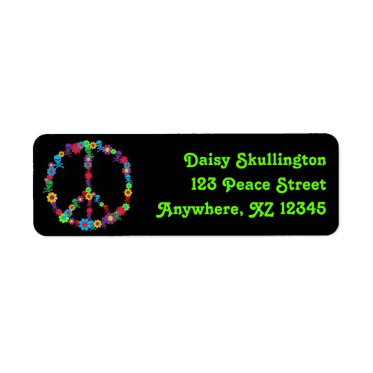 Skully Flower Power Peace Return Address Label