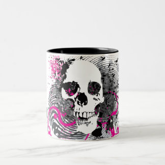 skullz. straight twisted arrows. Two-Tone coffee mug
