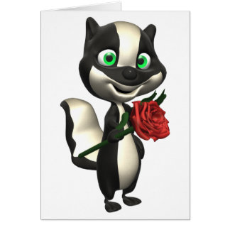 Skunk and Red Rose Greeting Card