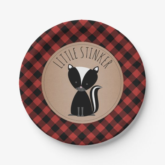 Skunk Lumberjack Plaid Baby Shower 7 Inch Paper Plate