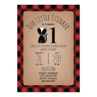 Skunk Lumberjack Plaid Birthday Party Card