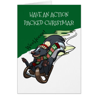 Skunk On A Sled Action Christmas Sledging Cartoon Card