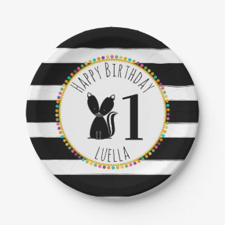 Skunk Pompom Stripes Birthday Paper Plate