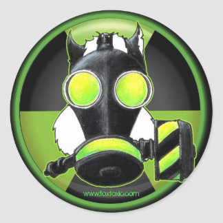 Skunk wearing Gasmask. Classic Round Sticker