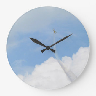 Sky and Airplane Large Clock