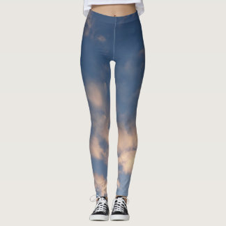 Sky and clouds photo print leggings