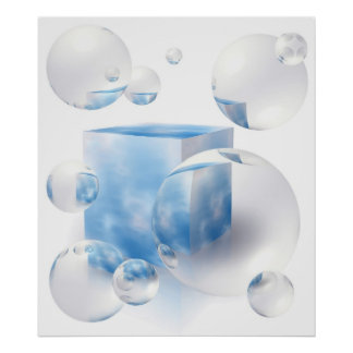 sky and clouds reflecting in the air bubbles poster