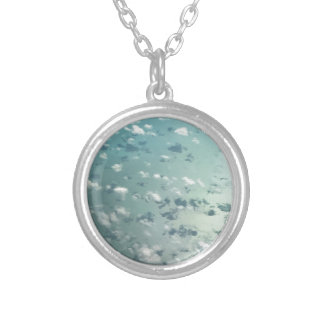 Sky and clouds silver plated necklace