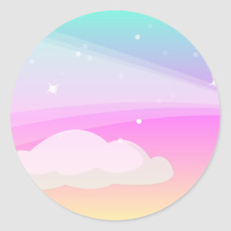 Sky and Clouds: Vector Art: Classic Round Sticker
