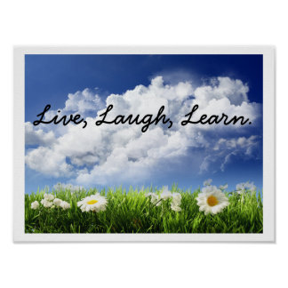 sky-and-flowers, Live, Laugh, Learn. Poster