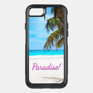 Sky, beach, palm trees - Paradise! OtterBox Commuter iPhone 8/7 Case