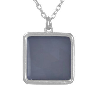 Sky Blue Abstract Low Polygon Background Silver Plated Necklace