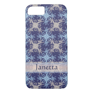 Sky Blue and Beige on Martinque Damask iPhone 7 Case