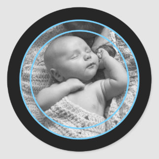 Sky Blue and Black Photo Frame Round Sticker