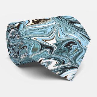 Sky blue and black swirls marbled necktie