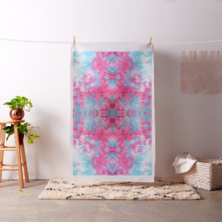 Sky Blue and Cherry Pink mirrored ice-dye print Fabric
