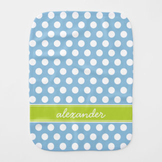Sky Blue and Green Polka Dots Monogram Burp Cloth