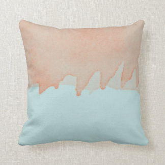 Sky Blue and Orange Watercolor Painting Art Throw Pillow