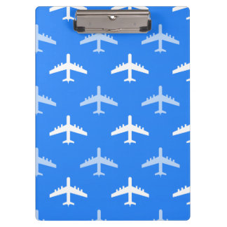 Sky Blue and White Airplane; Plane Clipboard