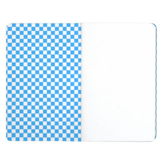 Sky Blue and White Checkerboard Pattern Journal