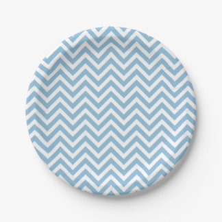 Sky Blue and White Chevron 7 Inch Paper Plate