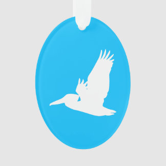 Sky Blue and White Flying Pelican Ornament