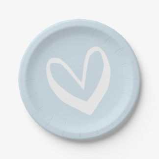 Sky Blue And White Hearts Love - Wedding / Party 7 Inch Paper Plate