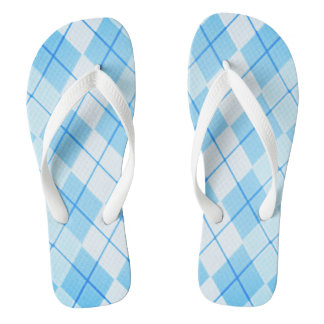 Sky-Blue-Argyle-Unisex(C)Multi-Styles Flip Flops